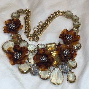 J. Crew Tortoise and Crystal Flower Necklace